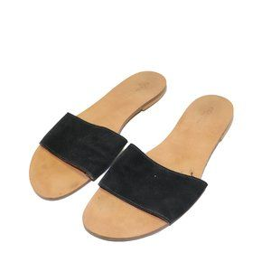 Simons Black Suede Leather Sole Slip On Sandals